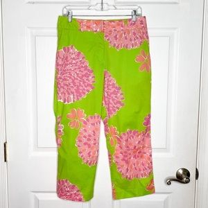Lilly Pulitzer Cropped Pants Floral Bright Cotton